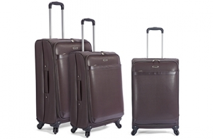 Juego de 3 trolleys, PVC, 4 ruedas, color marrón